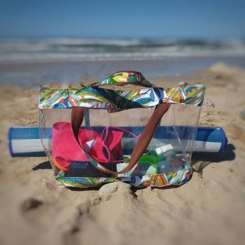 Sac de plage transparent et fond anti-sable - Churros