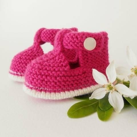 Chaussons salomé bicolore 6 mois - tutoriel tricot bébé PDF