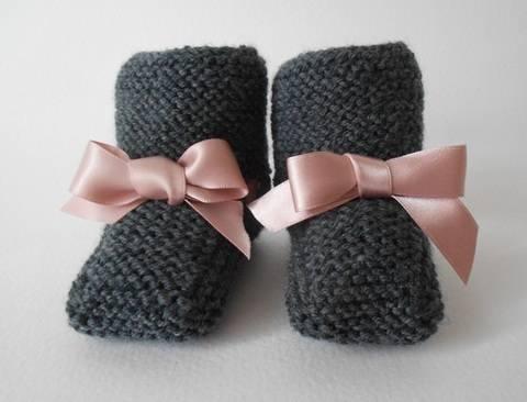 Chaussons avec lien 3 mois - tutoriel tricot bébé en PDF