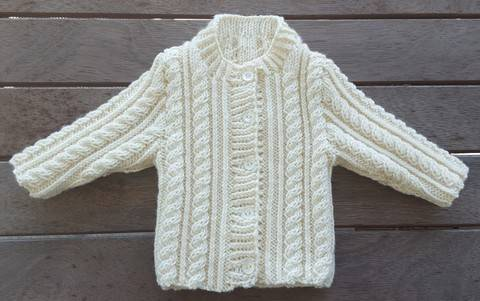 Babies 8ply cable cardigan knitting pattern - Junior
