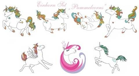 "Einhorn Set ""Pummelcorns"" Stickdatei bei Makerist"