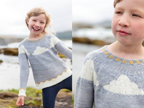 Pull enfant nuage Little Verdur 2-12a - explications tricot