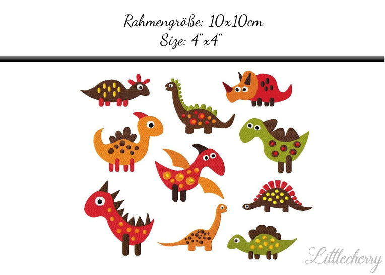 Stickdatei Set Dinos bei Makerist - Bild 1