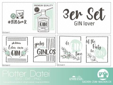 "Plotter-Datei ""GIN lover"" 3er-Set"
