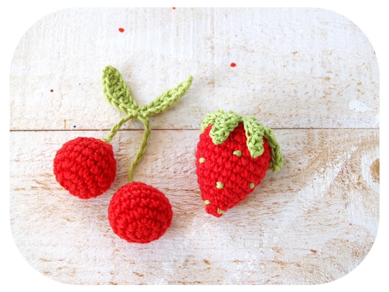 Häkelanleitung Kirsche + Erdbeere