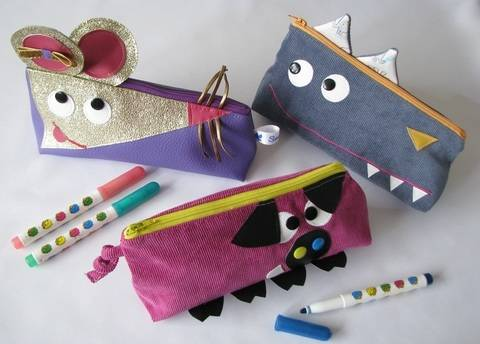 Three Pencil cases pattern - pig - mouse - wolf