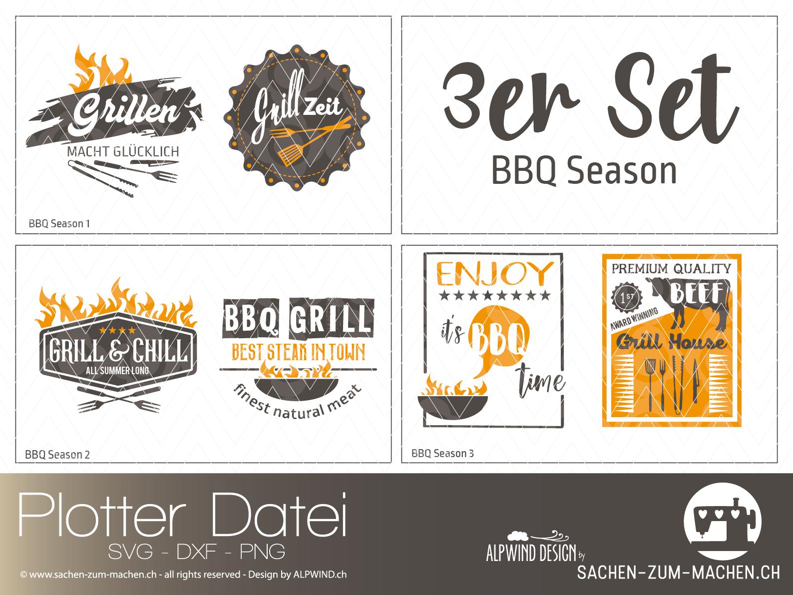 """Plotter-Datei """"BBQ Season"""" 3er-Set"""