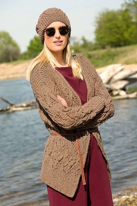 Tweed-Jacke mit Mütze