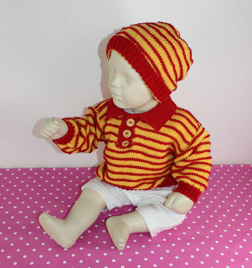 Baby & Toddler Stripe Sweater and Beanie Hat at Makerist - Image 1