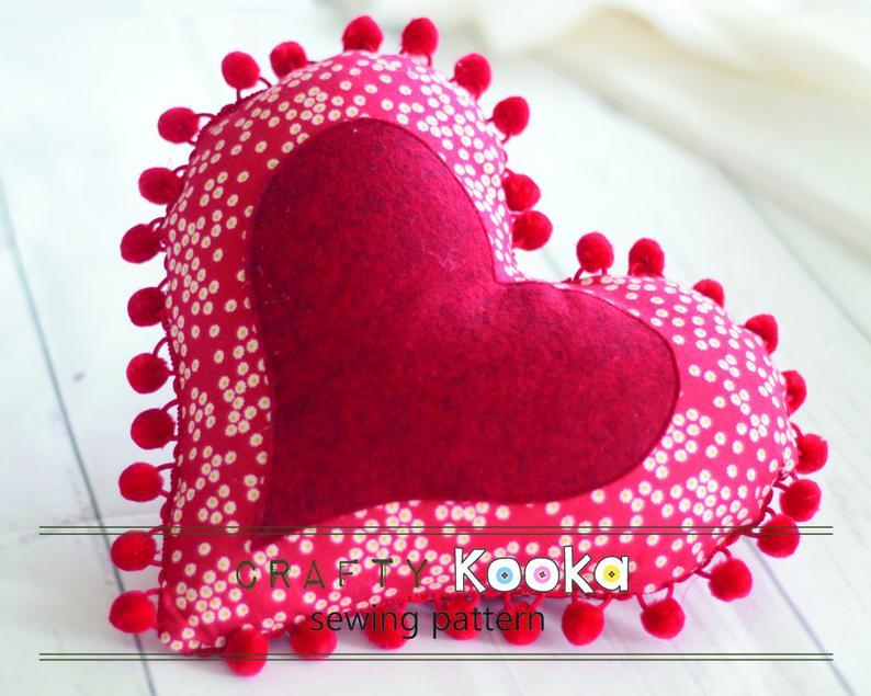 Heart pincushion sewing pattern - instant download pdf