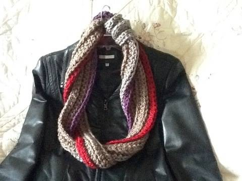 Fiber and cords crocheted scarf