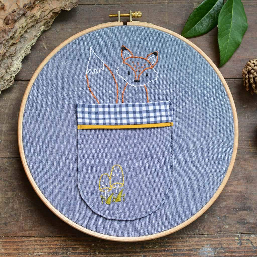 Woodland Fox Embroidery Pocket - PDF Pattern