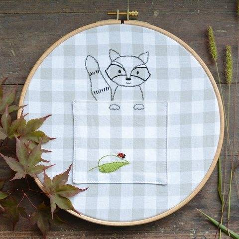 Woodland Raccoon Embroidery Pocket - PDF Pattern