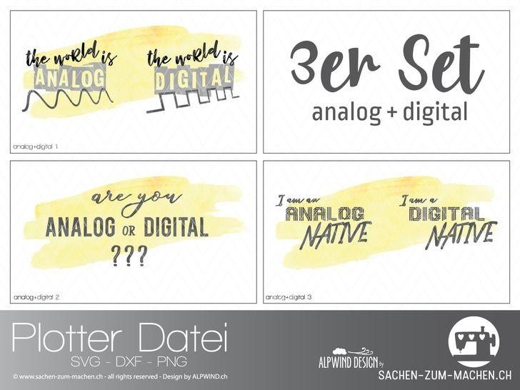 "Plotter-Datei ""analog+digital"" 3er-Set bei Makerist - Bild 1"