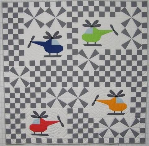 Whirly Birds Helicopter Airplane Baby Quilt