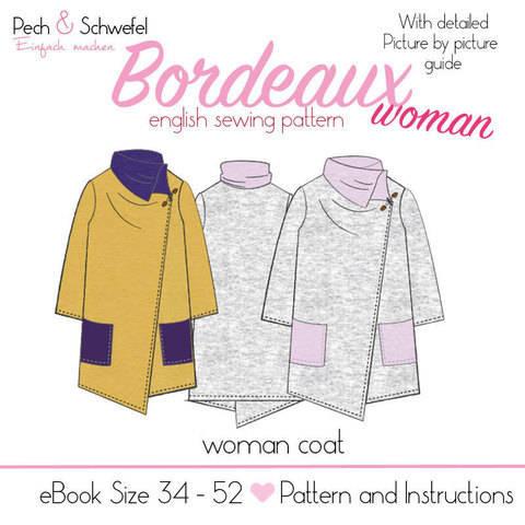 "E-Book sewing pattern woman coat  ""Bordeaux""  Size 34 -52"