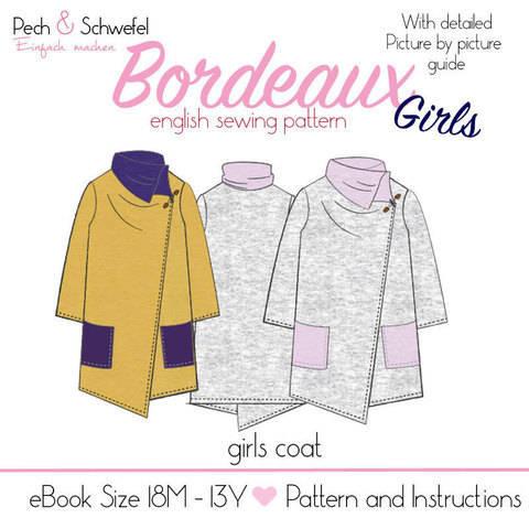 """Sewing pattern coat  """"Bordeaux"""" Size 18–24M – 13Y"""