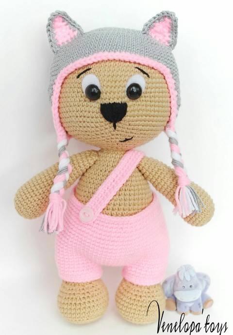 Amigurumi Bear with Cat cap crochet Pattern  at Makerist