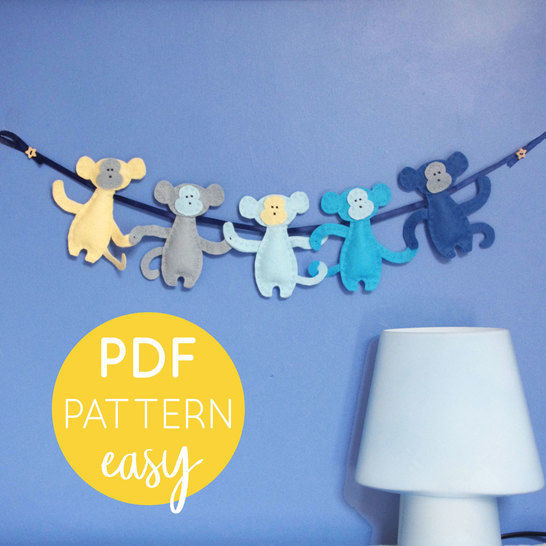Monkey Nursery Garland PDF Pattern at Makerist - Image 1