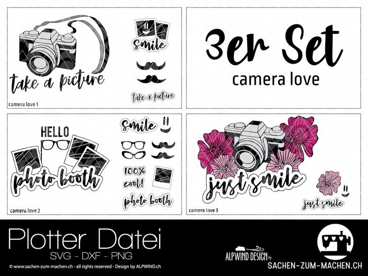 "Plotter-Datei ""camera love"" 3er-Set bei Makerist - Bild 1"