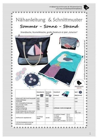 Schnittmuster und Nähanleitung Tasche und Strandtuch bei Makerist - Bild 1