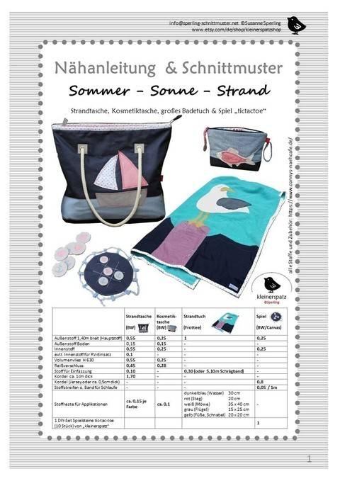 Schnittmuster und Nähanleitung Tasche und Strandtuch