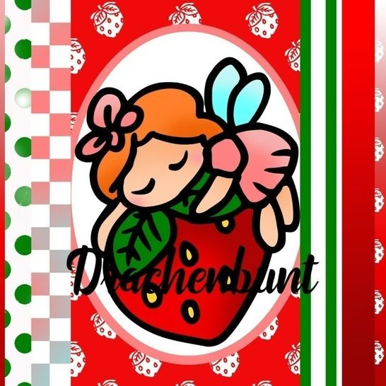 Digistamp Set Digipapier Fee Erdbeere Printable farbig bei Makerist - Bild 1