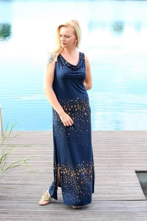 Sommerkleid Lynette mit Wasserfallkragen Gr 34-48 bei Makerist