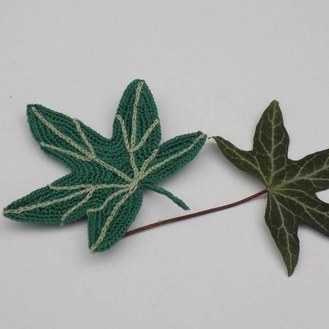 Big Crochet Ivy Leaf Pattern, Crocheted Leaf