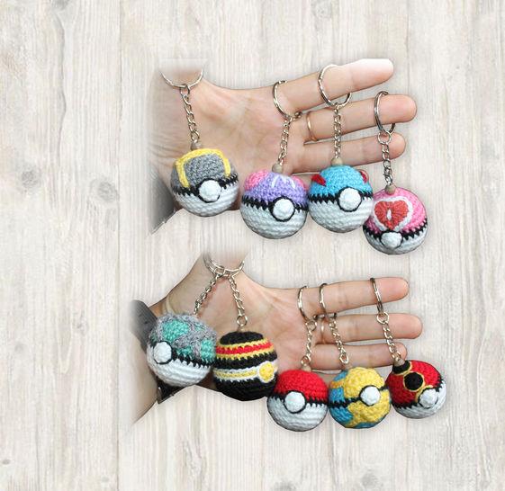 9 x Pokemon Ball Key Chains Crochet Pattern at Makerist - Image 1