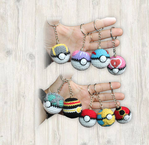 9 x Pokemon Ball Key Chains Crochet Pattern