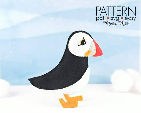 Felt Puffin Pattern | Puffin Plush Felt Pattern | Puffin SVG at Makerist