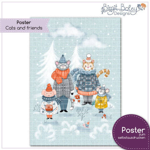 Birgit Boley Designs • Poster Cats and friends bei Makerist