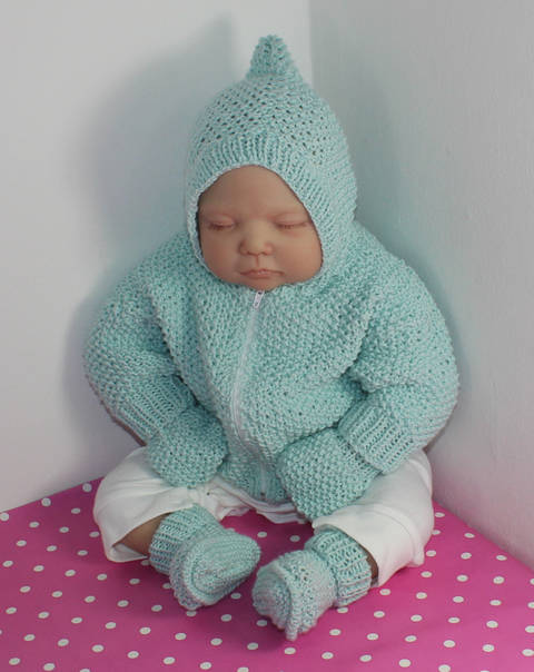 Baby Moss Stitch Hoodie Mittens and Booties