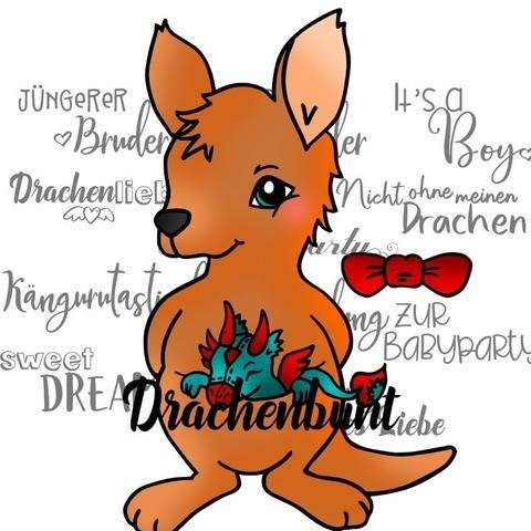 Plotterdatei Plott Känguru Drache Plüschtier für Jungen bei Makerist