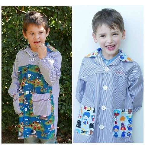 School smock and backpack PDF Pattern at Makerist