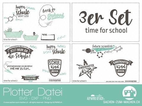 "Plotter-Datei ""time for school"" 3er-Set"