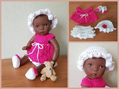 """Miss Frou-Frou"" crochet pattern for Bibichou Baby doll at Makerist"