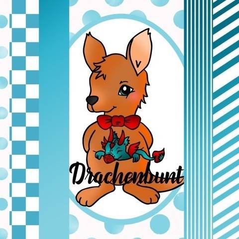 Digistamp Set Digipapier Känguru mit Drache Kuscheltier bei Makerist