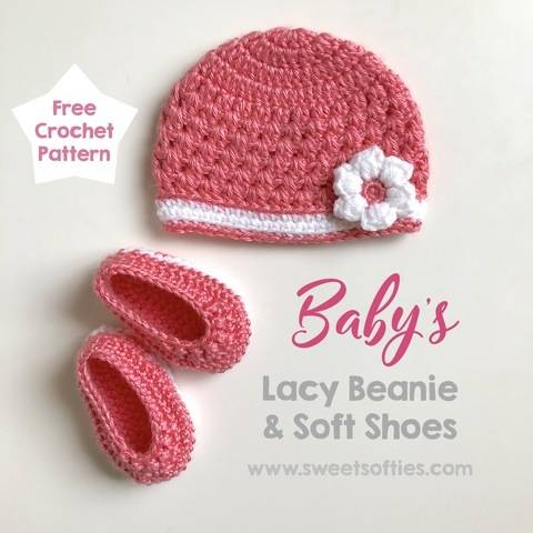 Baby's Lacy Beanie and Soft Shoes Set