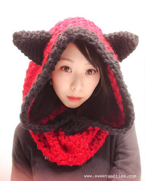 Hooded Fox Cowl, Hood & Scarf with Ears