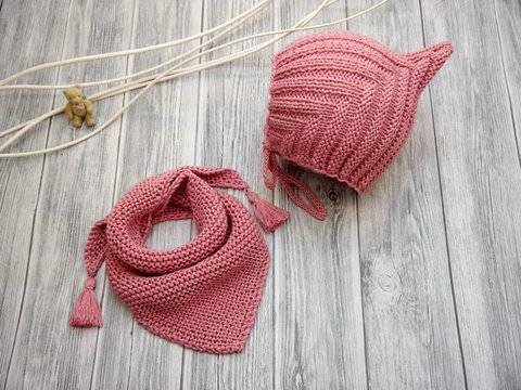 Knitting Pattern – PIXIE SET Baby Cap & Scarf - No.188E at Makerist