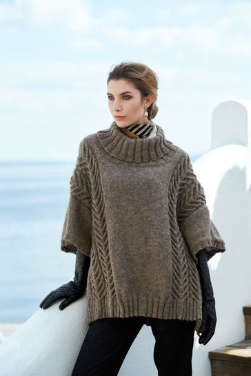 Andor Cable Oversized Poncho One Size PDF Knitting Pattern at Makerist - Image 1