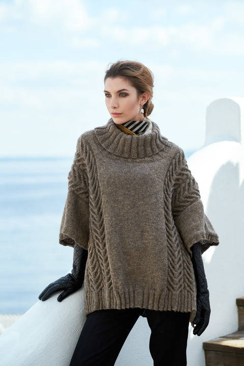 Andor Cable Oversized Poncho One Size PDF Knitting Pattern at Makerist