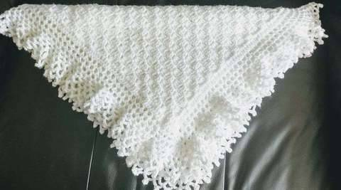 Flo's Lacy Baby Afghan Crochet Christening Shawl  at Makerist