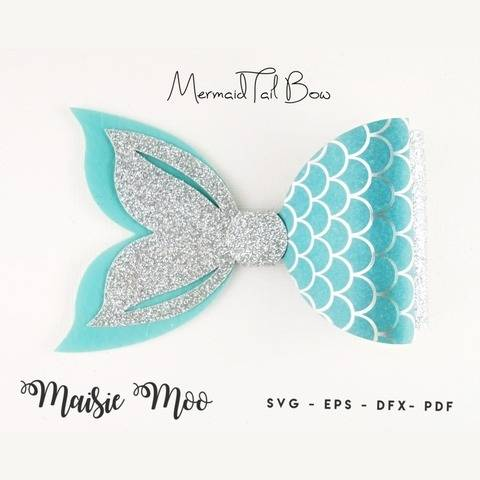 Mermaid Tail Bow Template - Bow SVG & PDF