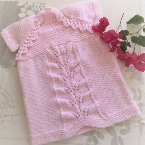 Knitting Pattern - Baby Lacy Dress and Shrug Newborn-2 years