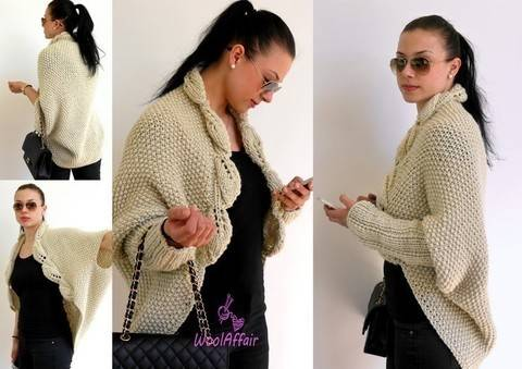 Knitting Pattern - LEAVES COCOON CARDIGAN - No.114E at Makerist