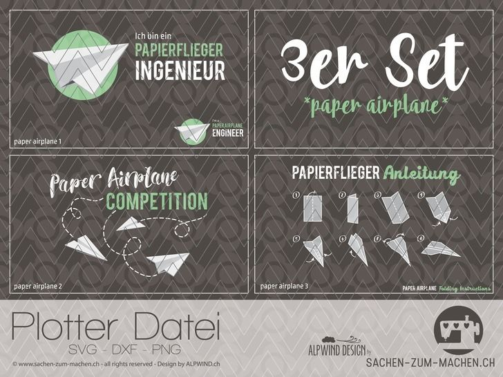 "Plotter-Datei ""paper airplane"" 3er-Set bei Makerist - Bild 1"