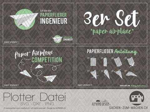 "Plotter-Datei ""paper airplane"" 3er-Set"
